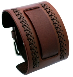 Nemesis - Brown Wide Leather Cuff Wrist Watch Band