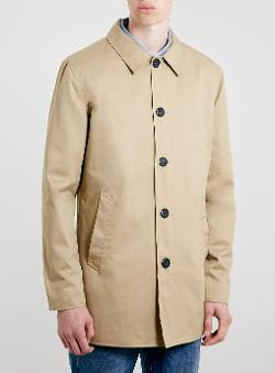 Topman - Stone Single Breasted Trench Coat