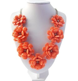 Herebuy Necklace - Lilies Flower Statement Bib Necklace