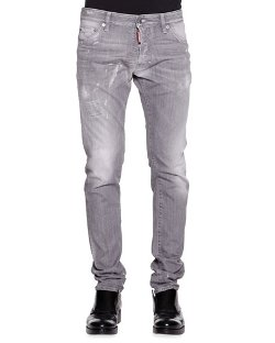 Dsquared2   - Cool Guy Slim-Fit Gray Distressed Jeans