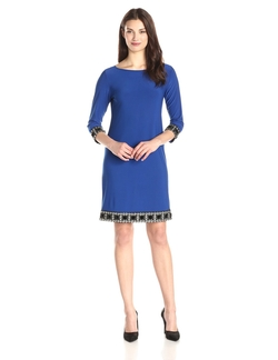 Tiana B  - Embellished Cuff And Trim Shift Dress