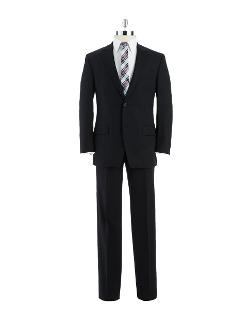Black Brown 1826  - Modern Fit 2-button Black Wool Suit