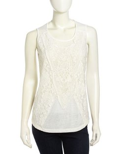 Romeo & Juliet Couture  - Lace Cutout Slub-Knit Tank