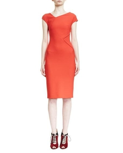 Roland Mouret  - Darlington Asymmetric V-Neck Sheath Dress