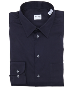 Armani - Navy Stretch Cotton Blend Point Collar Dress Shirt