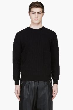 KRISVANASSCHE - BLACK CREWNECK CROCODILE PATTERN SWEATER
