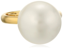 Kenneth Jay Lane  - Gold and White Shell Faux Pearl Center Adjustable Ring