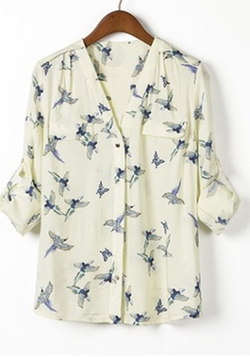 Rose Gal - Casual Style V-Neck Full Bird Print Blouse