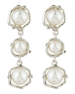 Majorica  - Triple-Tier Faux-Pearl Drop Earrings