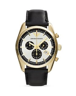 Emporio Armani  - Gold-Tone & Black Chronograph Watch