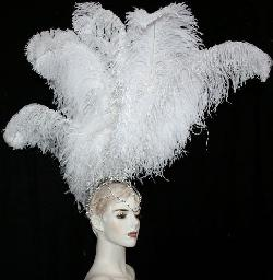 Neckelmanns - Ostrich Feather Headdress Supreme Feather Showgirl Crystal Rhinestones Headpiece