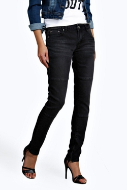 Boohoo Blue - Eve Low Rise Panelled Pocket Detail Skinny Jeans