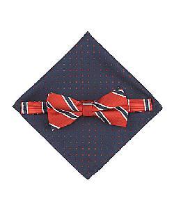 Class Club - Class Club Striped Bow Tie & Dot Pocket Square Set