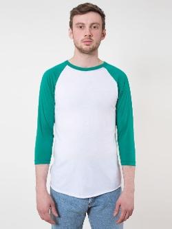 American Apparel - Poly-Cotton 3/4 Sleeve Raglan Shirt