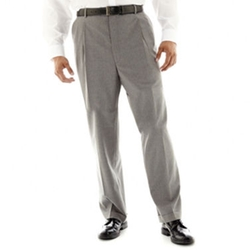 Stafford - Travel Gray Stripe Pleated Suit Pants