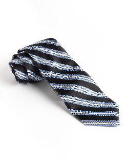 BLACK BROWN 1826  - Silk Striped Tie