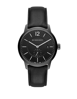 Burberry - Black Ion-Plated Stainless Steel Leather Strap Watch