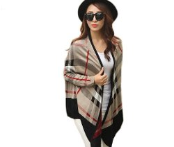 Superbaby - Women Plaid Check Open Front Cardigan