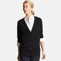 Uniqlo - Women Cotton Cashmere V-Neck Long Cardigan