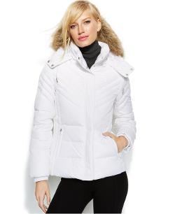 Kenneth Cole Reaction - Faux-Fur-Trim Hooded Down Puffer Coat