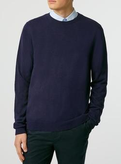 Topman - Indigo Essential Crew Neck Sweater