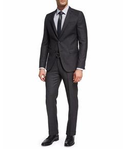 Boss - Birdseye-Striped Wool Two-Piece Suit