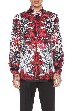 Versace - Printed Silk Button Down in Red & Grey