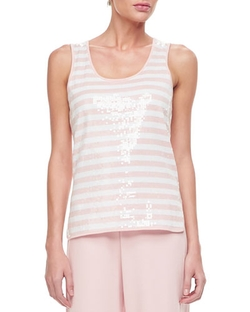 Joan Vass - Sequin Stripe Tank Top