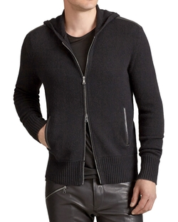 John Varvatos Collection - Leather Trim Wool Hoodie Sweater