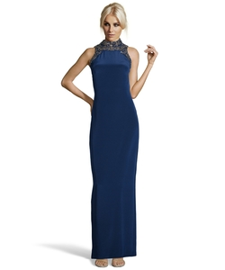 Marchessa Notte - Navy Silk Beaded And Sequined Mandarin Collar Evening Gown