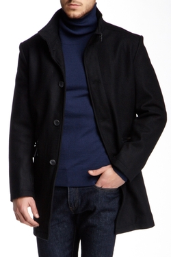 Kenneth Cole New York - Buckle Collar Wool Blend Peacoat