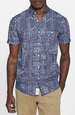 Native Youth - Gypsy Paisley Print Short Sleeve Chambray Shirt