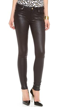 7 For All Mankind  - Faux Crackle Leather Skinny Pants
