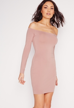 Missguided - Bardot Long Sleeve Bodycon Dress Pink