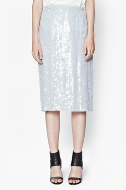 French Connection - Mist Sequinned Pencil Skirt