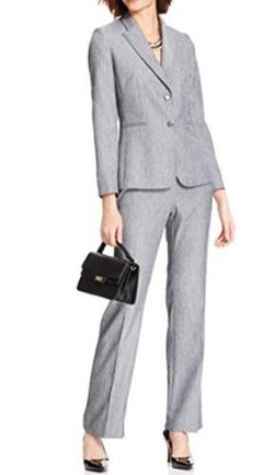 Tahari Asl - Two-Button Herringbone Pant Suit