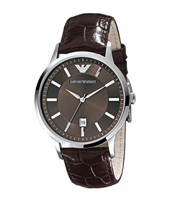 Emporio Armani - Classic Chocolate-Dial Leather Strap Watch