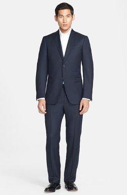 Z Zegna  - Trim Fit Navy Tic Weave Wool Suit