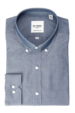 Ben Sherman - Chambray Button-Down Long Sleeve Skinny Fit Shirt