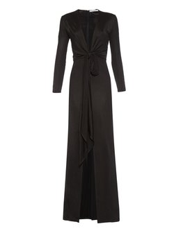 Givenchy - Deep-Neck Front-Slit Gown