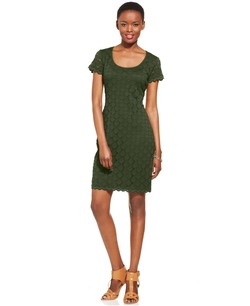 Ronni Nicole  - Short-Sleeve Crochet Lace Sheath Dress