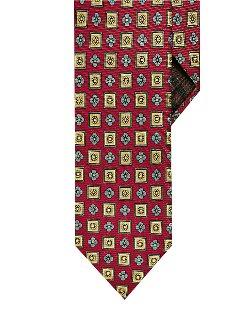 Black Brown 1826  - Slim Fit Flower And Square Print Tie