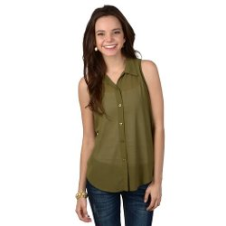 Brinley Co.  - Sleeveless Button-up Top