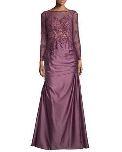 La Femme - ong-Sleeve Embellished Taffeta Mermaid