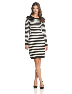 Calvin Klein  - Long-Sleeve Multi-Striped Sweater Dress