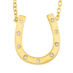 Timeless Jewelry Collection  - Unique 14k Yellow Gold Diamonds Horseshoe Pendant Necklace