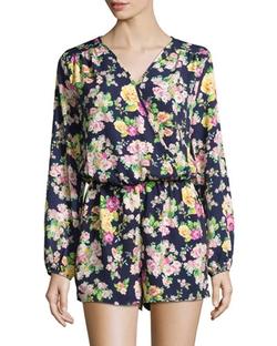 Neiman Marcus   - Floral-Print Long-Sleeve Romper