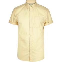 River Island - Light Yellow Short Sleeve Twill Shirt