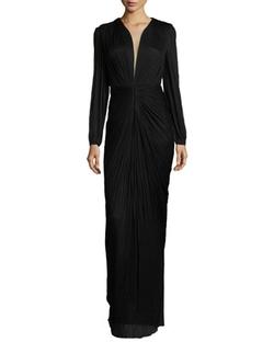 Maria Lucia Hohan - Ira Long-Sleeve V-Neck Draped Gown