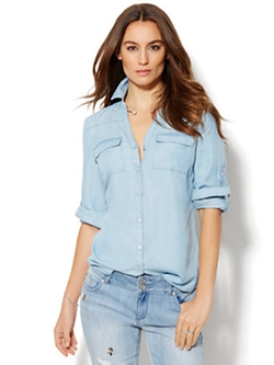 New York & Co. - Embellished Light Indigo Wash Soho Shirt
